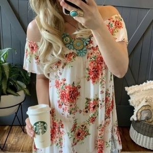 Boutique Off-Shoulder Floral Spring Dress